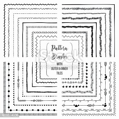 istock Vector pattern brushes with outer and inner tiles pack 655374036