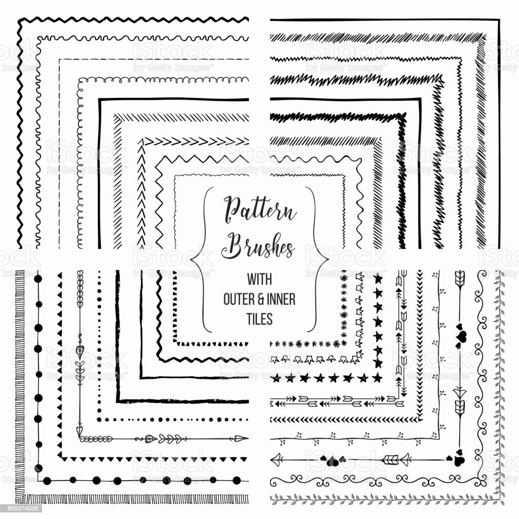 Vector pattern brushes with outer and inner tiles pack – Vektorgrafik