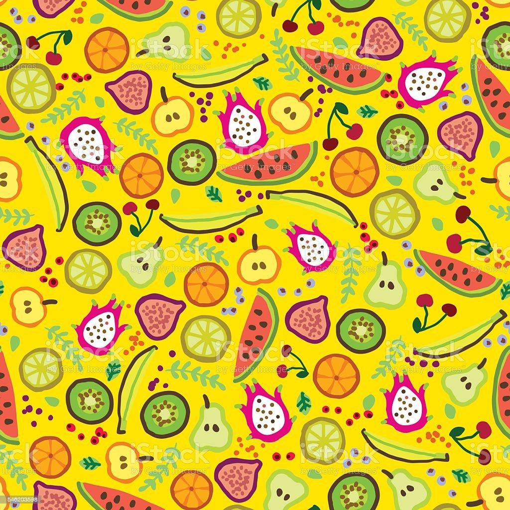 Vector Pattern Cartoon Fruit Illustration Yellow Seamless ...