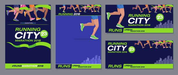 vector pattern design jogging marathon advertising banner style navy blue foot runners city - running stock illustrations