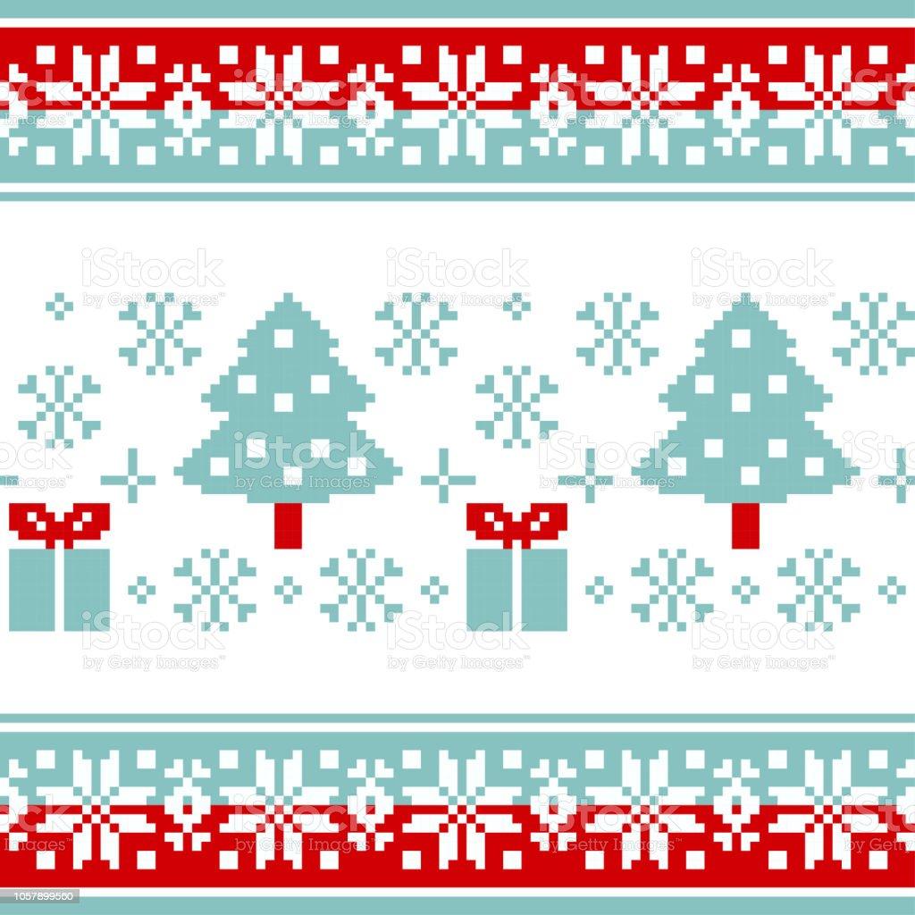 Ilustración de Patrón De Vector Para Tejer Con árboles De Navidad ...