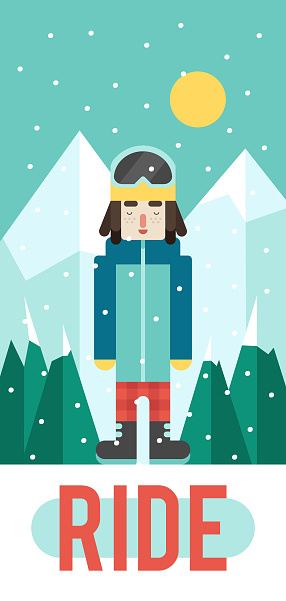 Vector pattern for your phone case with nice boy snowboarder (flat design)