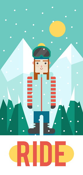 Vector pattern for your phone case with nice girl snowboarder (flat design)