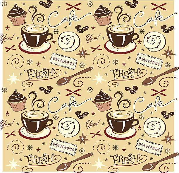 Vector Pattern, Hot Fresh Coffee, Yummy vector art illustration