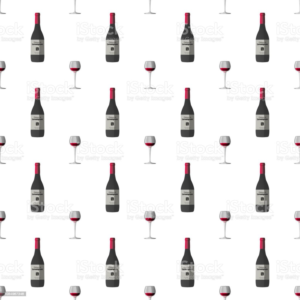 Vector pattern illustration in a chaotic manner with wineglass with red wine and dark grey wine bottle, red cap and sticker vector art illustration