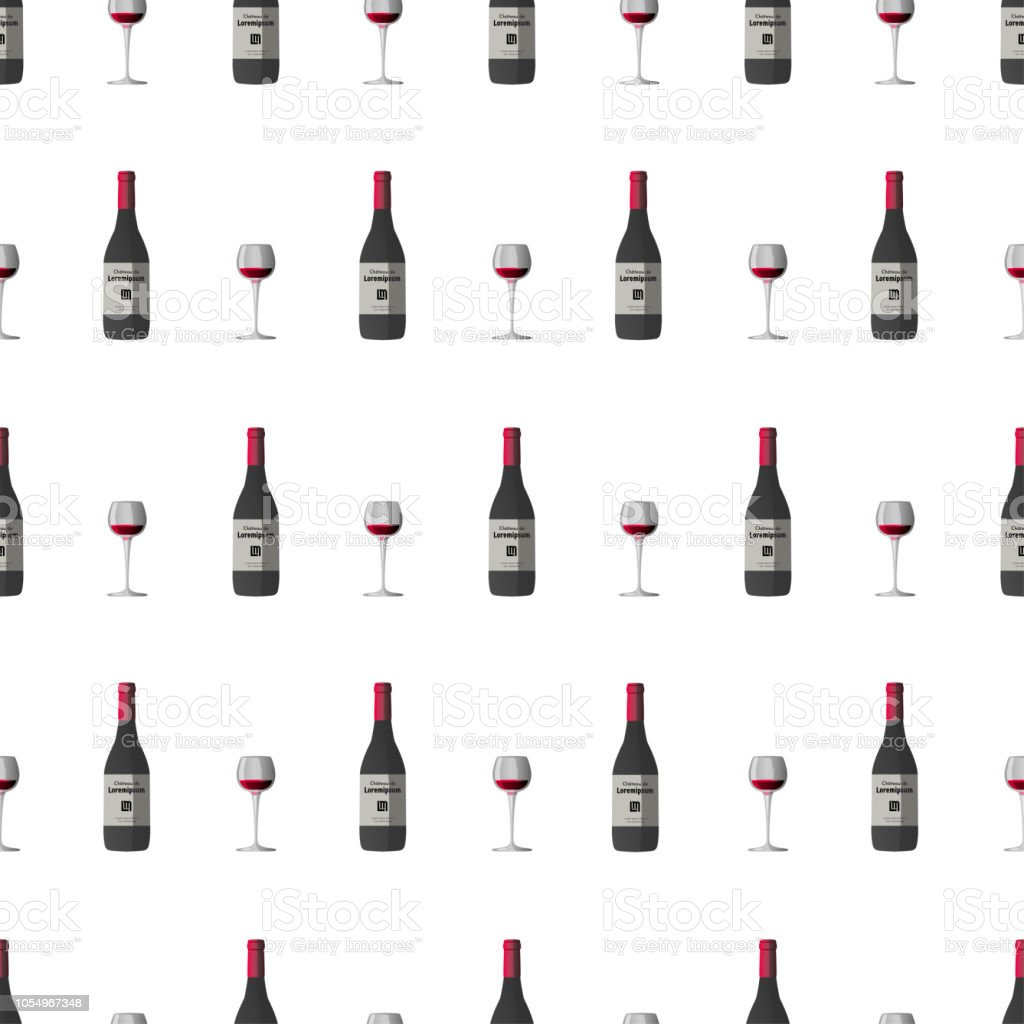 Vector pattern illustration with wineglass with red wine and dark grey wine bottle, red cap and sticker vector art illustration