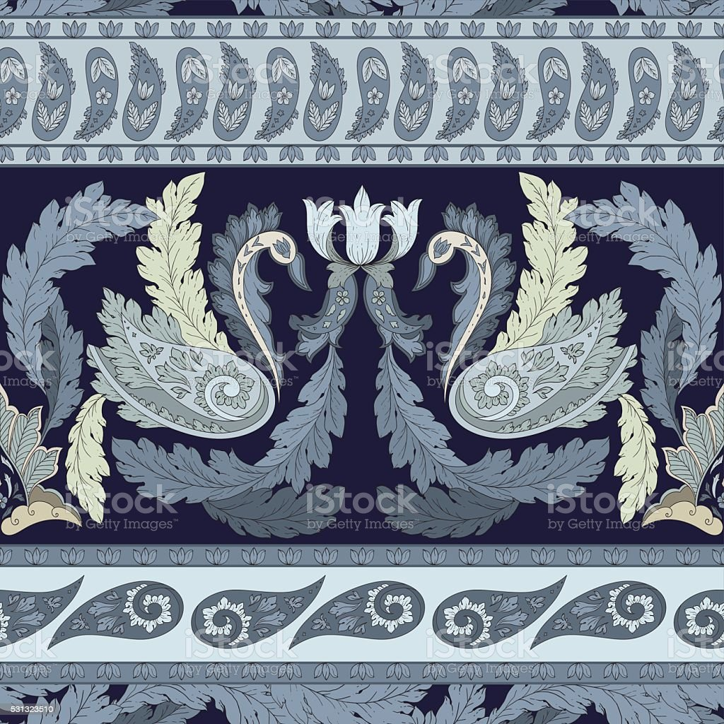 Vector pattern inspired by acanthus leaves, paisley, swan vector art illustration