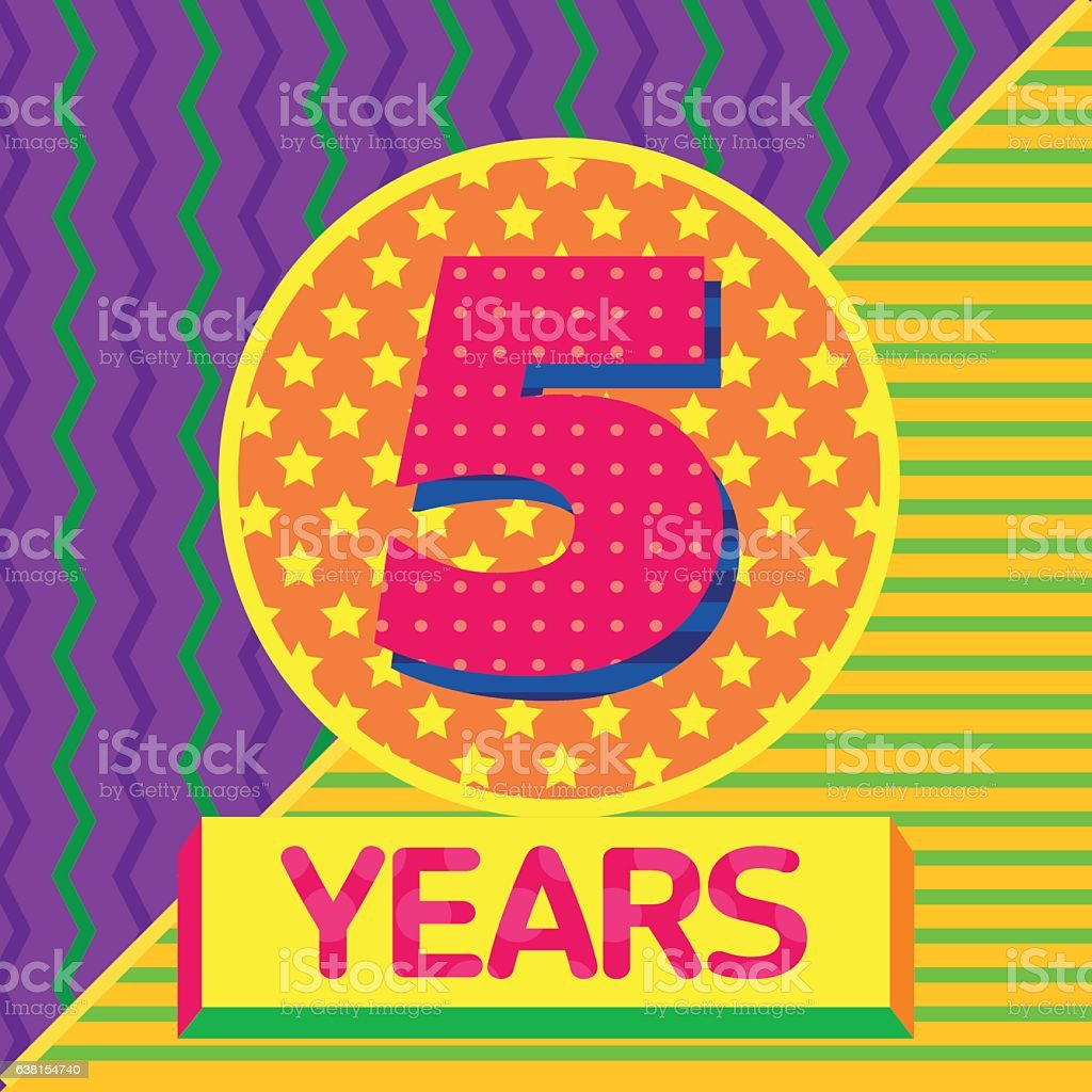 vector pattern numbers 5 birthday anniversary color patterns stock