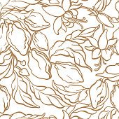 Seamless pattern of cocoa tree branch with leaf, bean Vector botanical doodle drawing set Line art design Realistic nature Organic sweet, food Sketch illustration isolated on white background