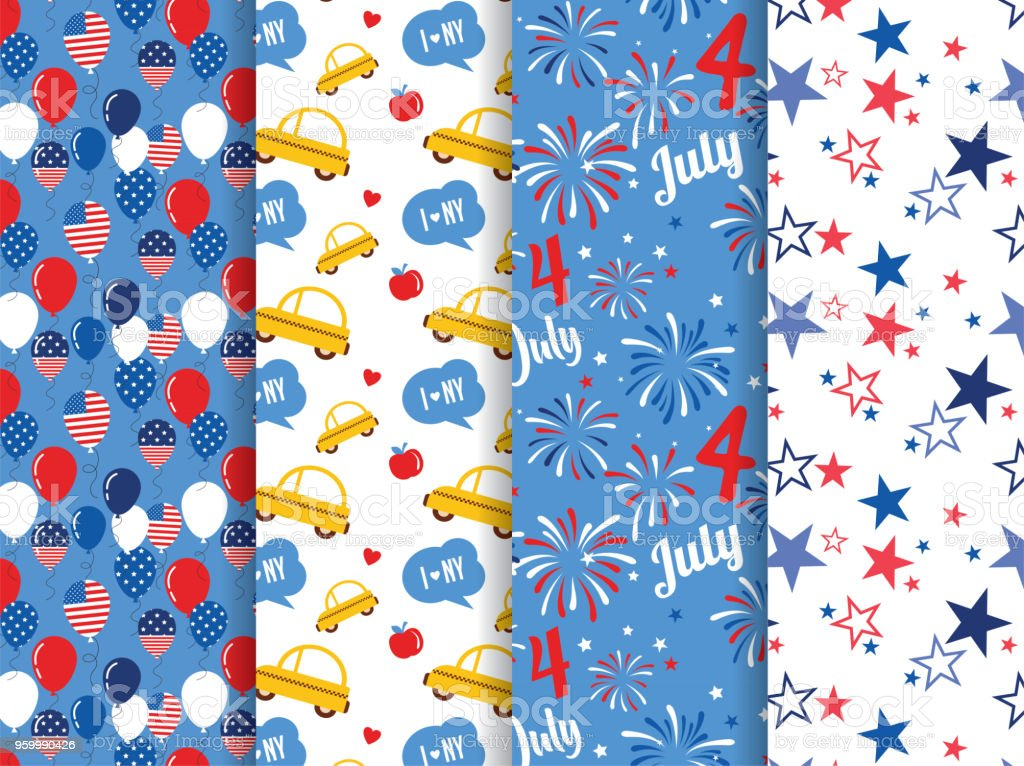 Vector pattern set. National colors of the United States. American flag,stars and stripes. Use for celebration of independence day, party decoration,surface texture.happy 4th of July vector art illustration