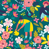 Vector pattern with the people in a garden in the trendy colors. Beautiful illustration in the vintage style for a textile