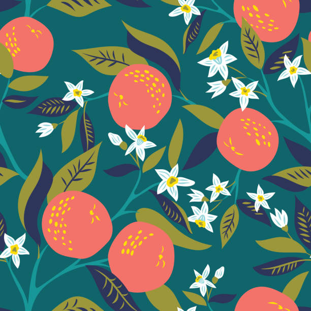 vector pattern Vector seamless pattern with branches of oranges in bloom citrus fruit stock illustrations