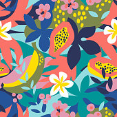 Collage floral seamless pattern with exotic jungle fruits and plants in trendy colors. Vector modern illustration.