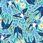 Vector seamless pattern with flying swallows and spring flowers: narcissuses, hyacinths and muscari
