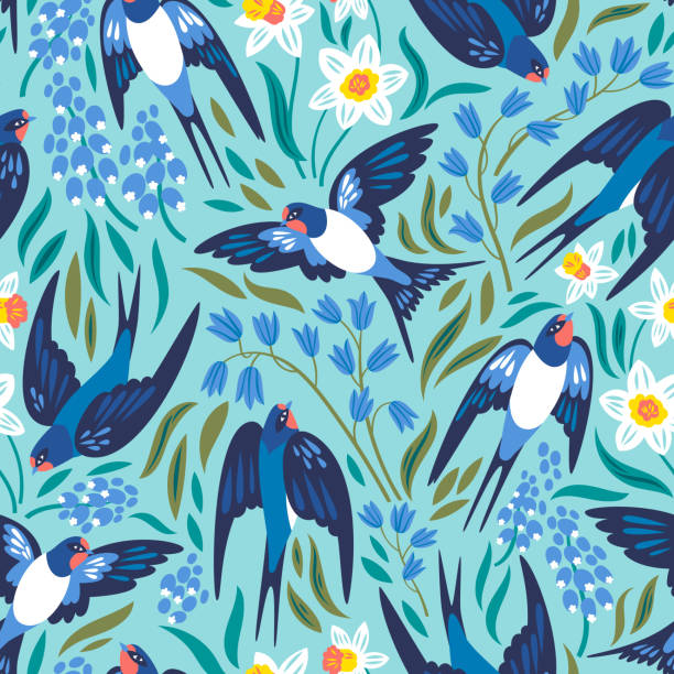 Vector pattern Vector seamless pattern with flying swallows and spring flowers: narcissuses, hyacinths and muscari bird backgrounds stock illustrations