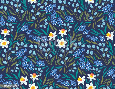 Vector seamless pattern with spring flowers: narcissuses, hyacinths and muscari