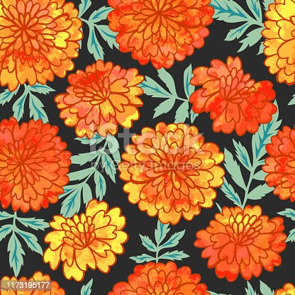 Vector seamless with bright hand drawn marigolds with watercolor texture. Perfect for textile for Mexican traditional holiday Day of the dead or for Indian holiday Diwali