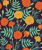 """Vector seamless pattern of Mexican holiday """"Day of the Dead"""". The illustration with traditional marigold flowers on the dark background"""