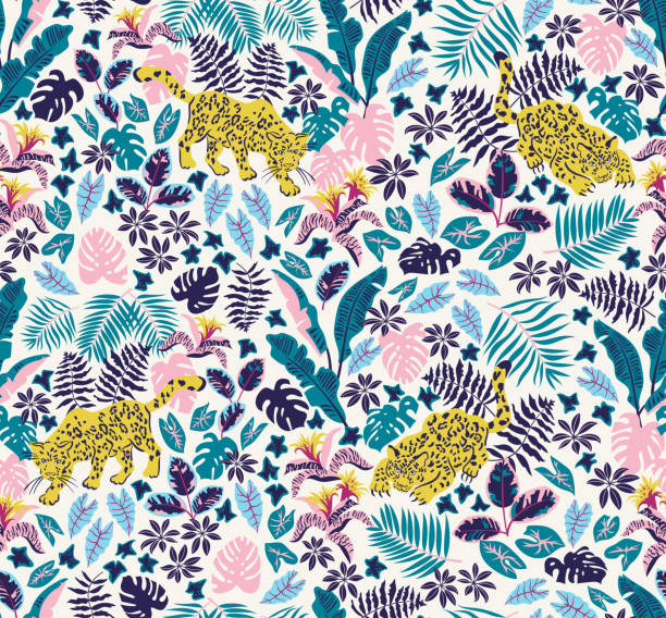 Vector pattern Seamless pattern with jaguars and rainforest plants. Trendy tropical design for textiles fabric swatch stock illustrations