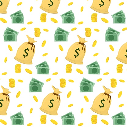 vector pattern with a cloth bag of money, coins and bills on a white background