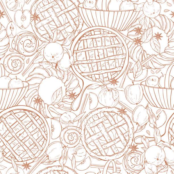 ilustraciones, imágenes clip art, dibujos animados e iconos de stock de patrón vectorial con tarta de manzana. ilustración de boceto. - conceptos y temas