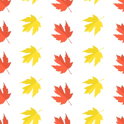 Vector pattern with autumn leaves in flat style. Autumn maple leaves on white. Simple Seamless pattern for textile, gift wrap, scrapbook, happy Thanksgiving background, web, fall greeting cards.