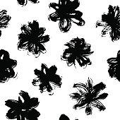 Vector pattern with black grunge flower