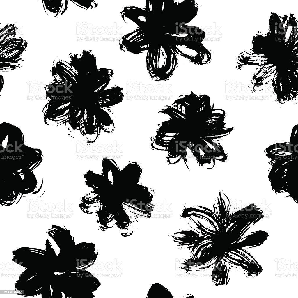 Vector pattern with black grunge flower vector art illustration