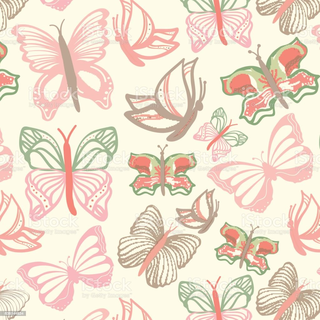 Vector pattern with butterflies vector art illustration