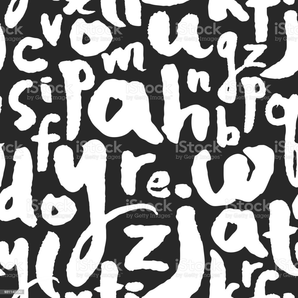 Vector Pattern With Calligraphy Letters From A To Z Royalty Free
