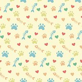 pet theme background vector pattern with cats paw prints