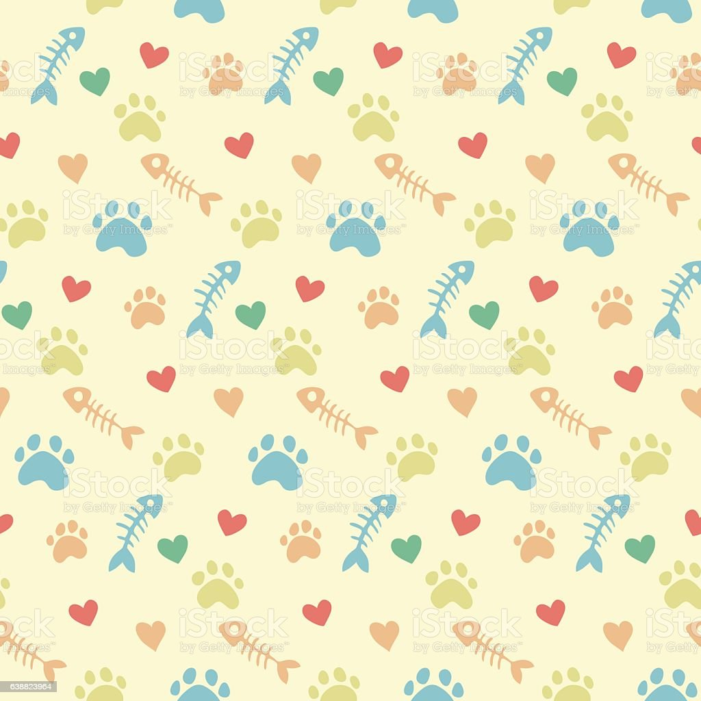 vector pattern with cats paw prints vector art illustration