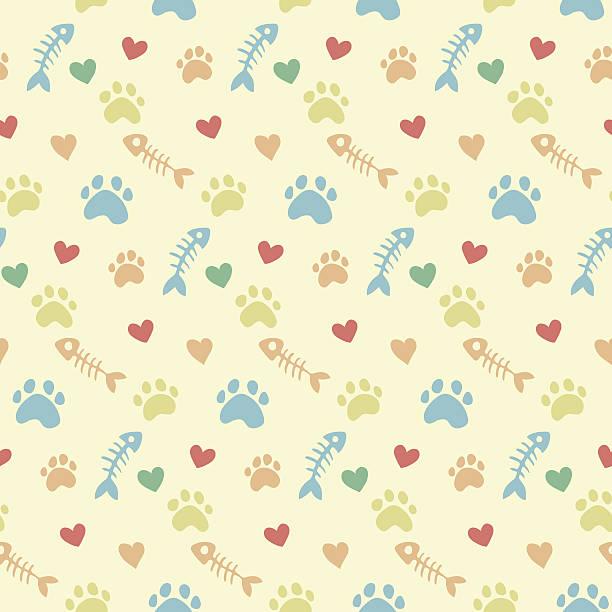 vector pattern with cats paw prints - 魚の骨点のイラスト素材/クリップアート素材/マンガ素材/アイコン素材