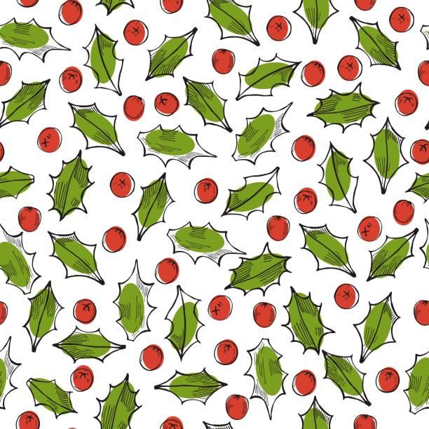 stockillustraties, clipart, cartoons en iconen met vectorpatroon met kerstplanten - pinaceae