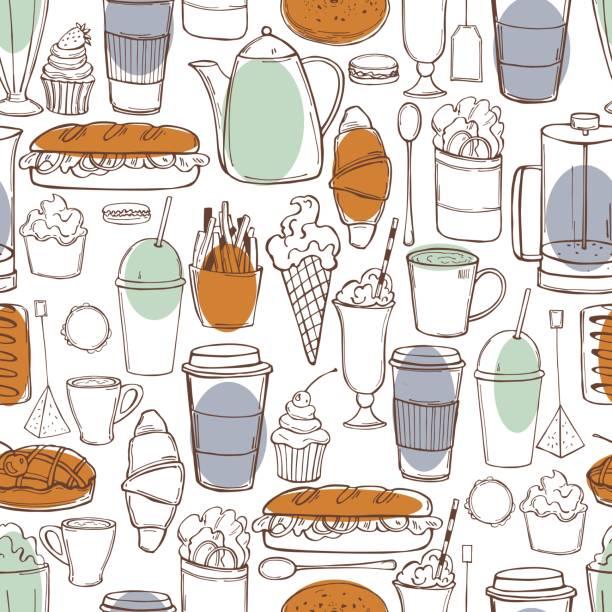 ilustraciones, imágenes clip art, dibujos animados e iconos de stock de patrón vectorial con comida de cafetería. - conceptos y temas
