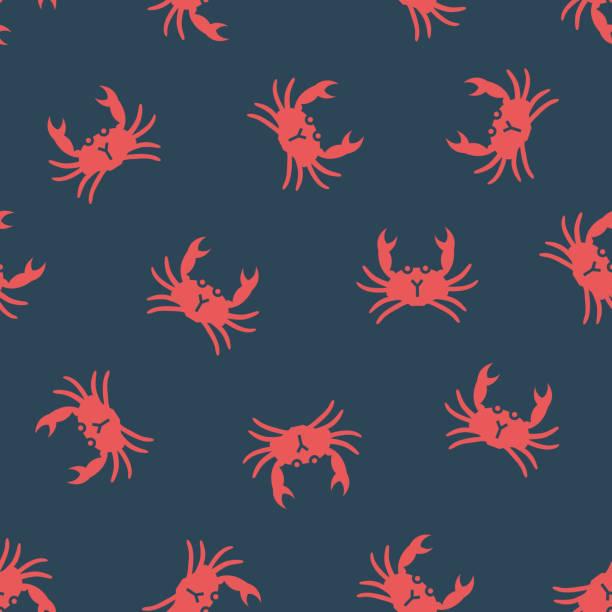 bildbanksillustrationer, clip art samt tecknat material och ikoner med vektor mönster med krabbor - krabba