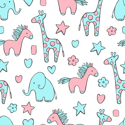 Vector pattern with cute animals.