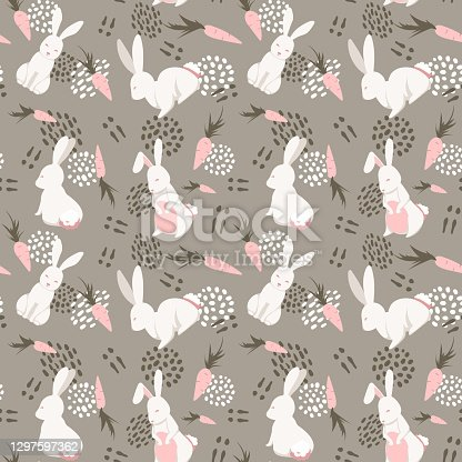 istock Vector pattern with cute rabbits and carrots. Cute illustration for the decor of children's books, postcards, textiles, fabrics, clothes, etc 1297597362