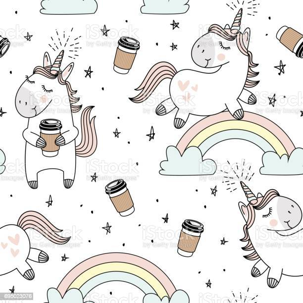 Vector pattern with cute unicorns cloudsrainbow and stars magic with vector id695023076?b=1&k=6&m=695023076&s=612x612&h=or0oeklyf610fwao0kwktilsm8uifw59ydfsp7jwhmk=
