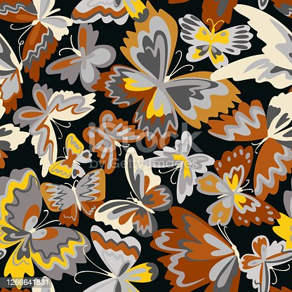 istock Vector pattern with decorative butterflies. Abstract seamless background. Colorful flat design for fabric and textile. Fashion style. 1266641831