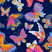 istock Vector pattern with decorative butterflies. Abstract seamless background. Colorful flat design for fabric and textile. Fashion style. 1266641860