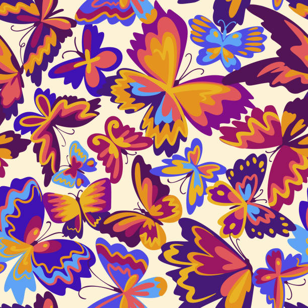 Vector pattern with decorative butterflies. Abstract seamless background. Colorful flat design for fabric and textile. Fashion style. Vector pattern with decorative butterflies. Abstract seamless background. Colorful flat design for fabric and textile. Fashion style. backgrounds clipart stock illustrations