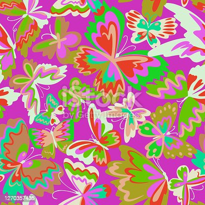 istock Vector pattern with decorative butterflies. Abstract seamless background. Colorful flat design for fabric and textile. Fashion style. 1270357435