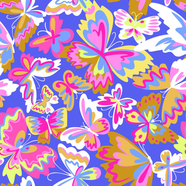 Vector pattern with decorative butterflies. Abstract seamless background. Colorful flat design for fabric and textile. Fashion style. Vector pattern with decorative butterflies. Abstract seamless background. Colorful flat design for fabric and textile. Fashion style. blue clipart stock illustrations
