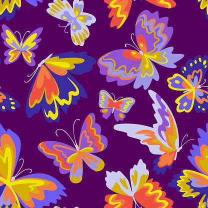 Vector pattern with decorative butterflies. Abstract seamless background. Colorful flat design for fabric and textile. Fashion style.