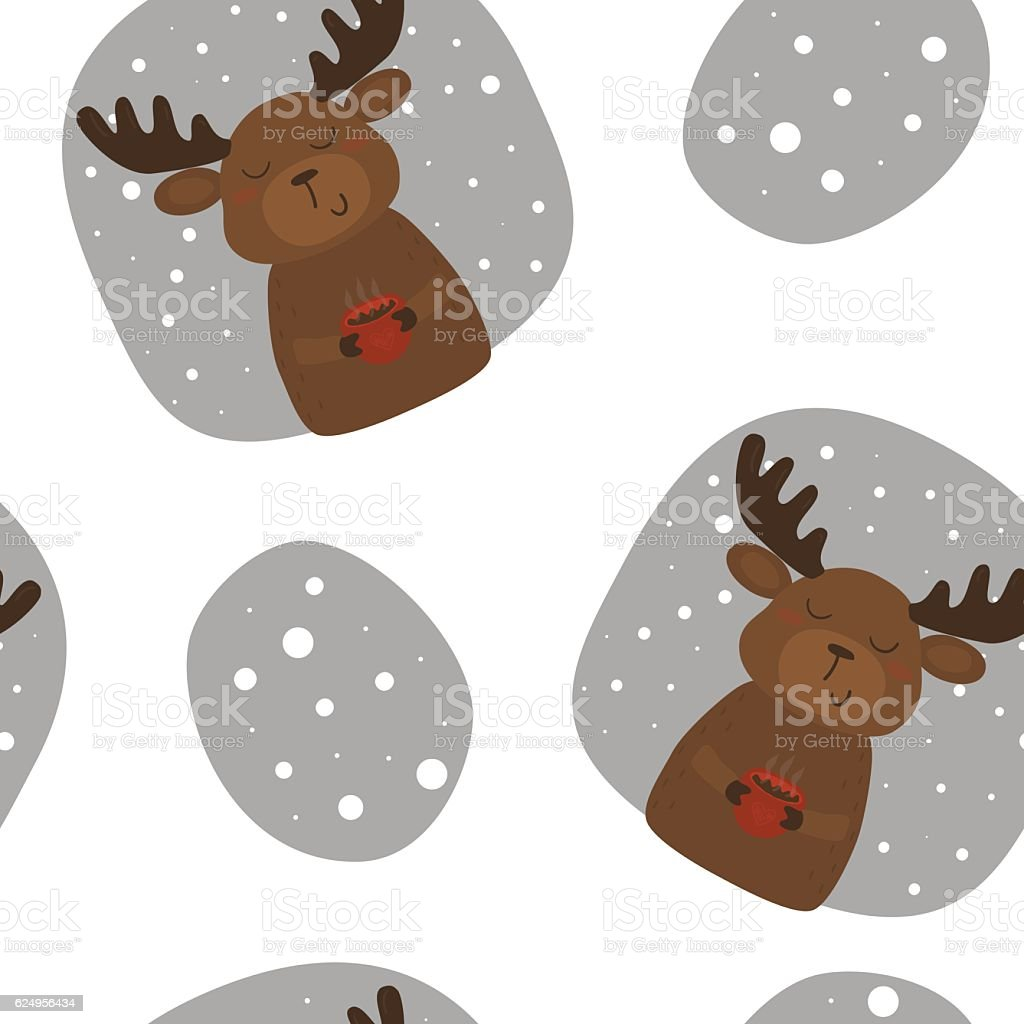 Vector Pattern With Deer And Cup Printable Templates Stock Vector