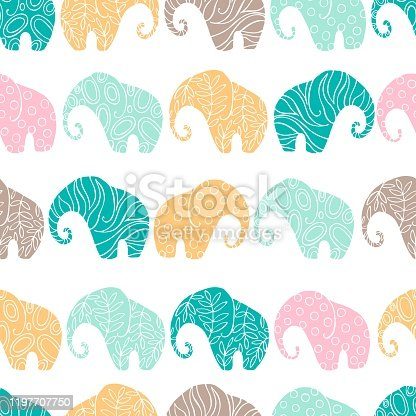 istock Vector  pattern with elephants 1197707750