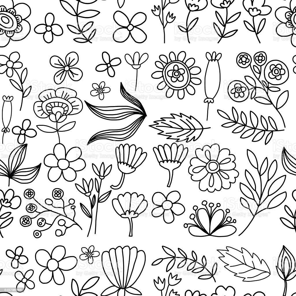 Vector pattern with flowers Garden Birhday Wedding Postcard vector art illustration