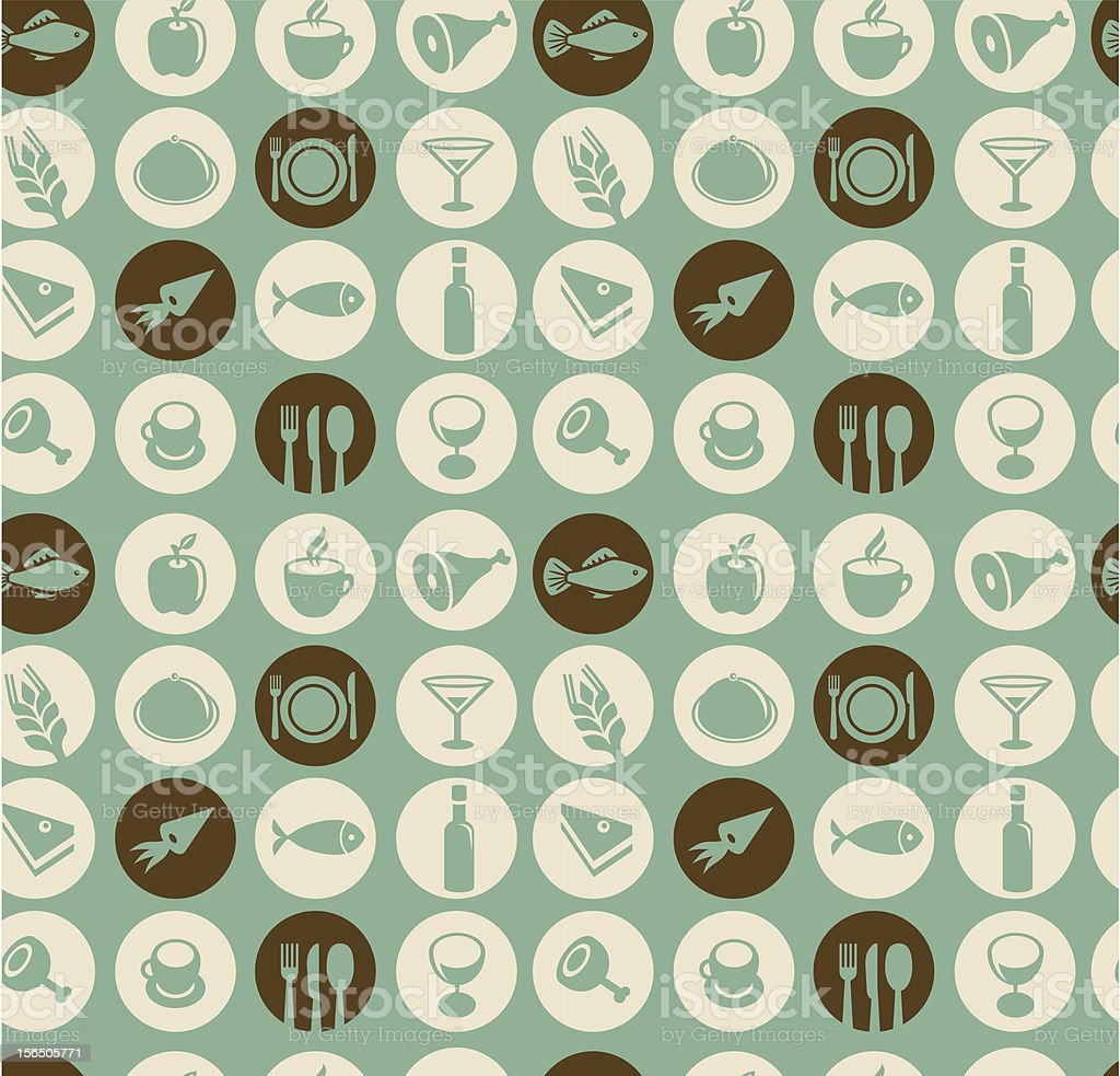 Vector pattern with food and restaurant icons vector art illustration