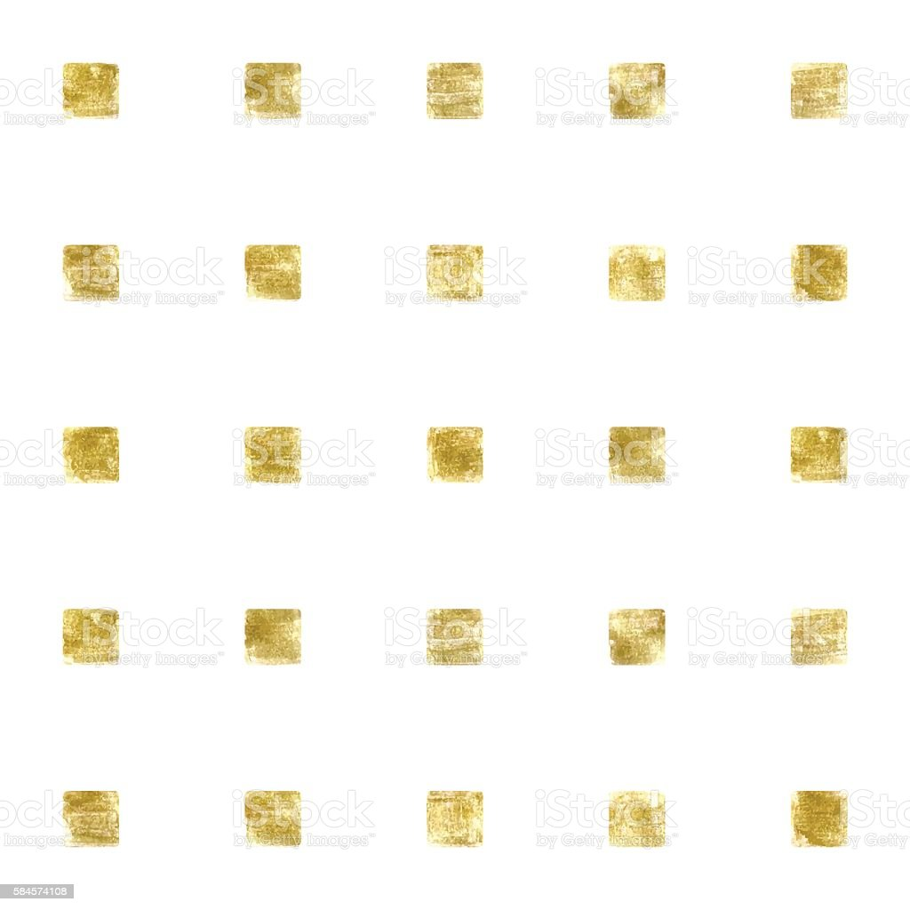 Vector pattern with golden squares. Abstract seamless texture. Watercolor vector. vector art illustration